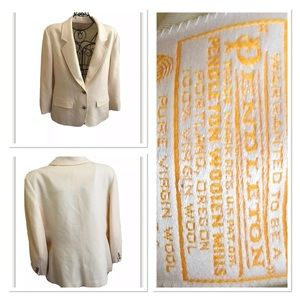 Pendelton 100% Virgin Wool Blazer Cream Ivory